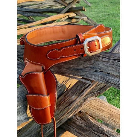 Single Action Peacemaker Single Buscadero Belt & Holster Tan