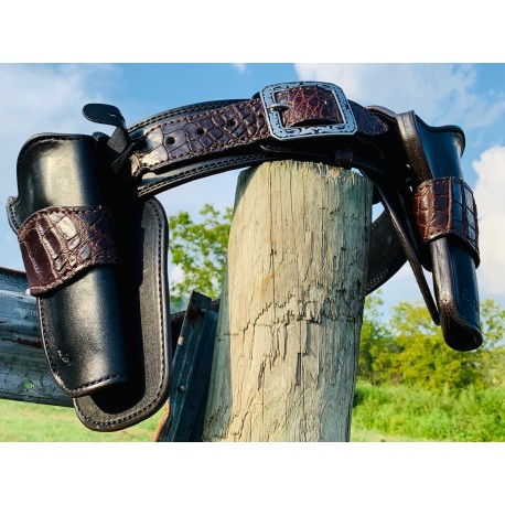 Single Action Peacemaker Straight Belt With Crossdraw Holster Alligator Trim